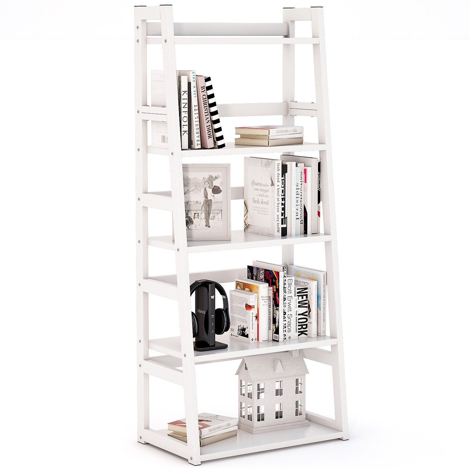 Tribesigns 5-Tier Bookshelf, Free Standing Ladder Shelf with Strong ...