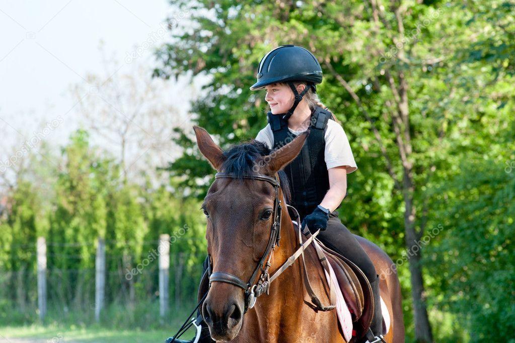 Girl riding a horse Stock Photo , Ad, riding, Girl,