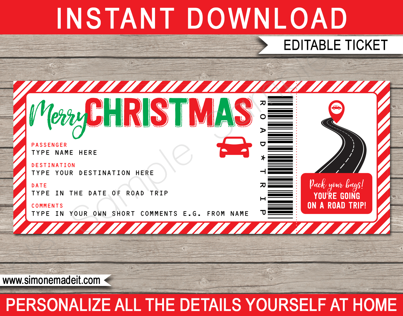 Christmas Road Trip Ticket Template Surprise Road Trip Reveal Road Trip Gifts Ticket Template Christmas Coupons