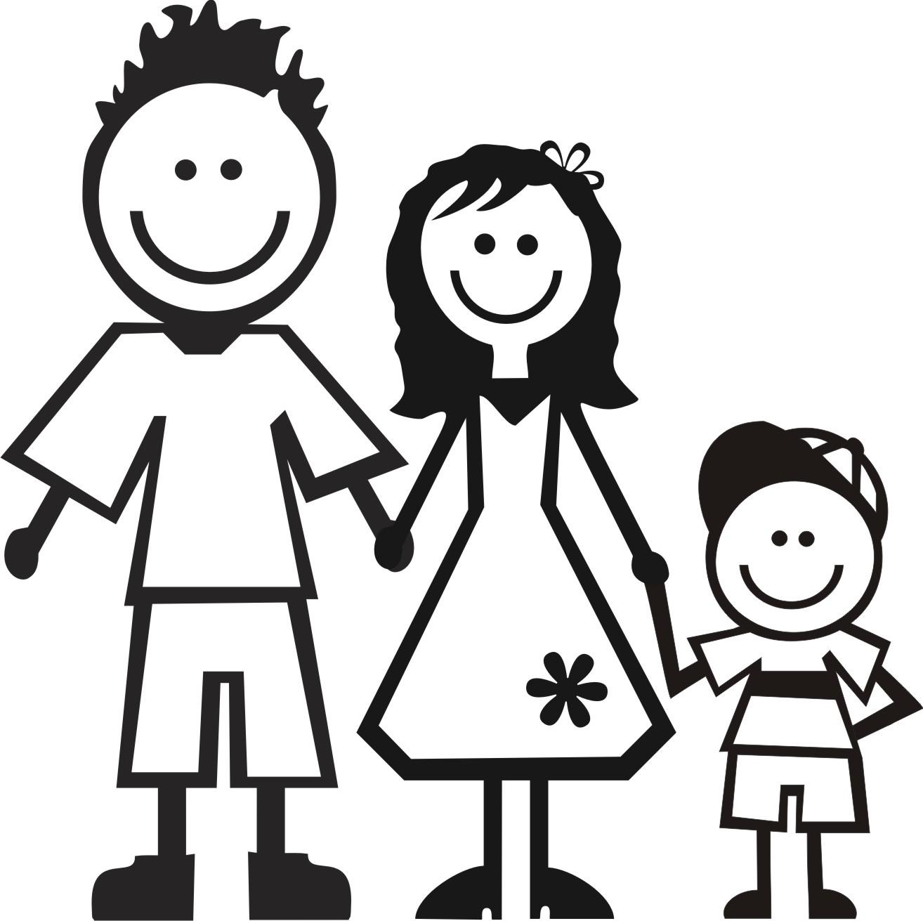 Семья картинка черно-белая