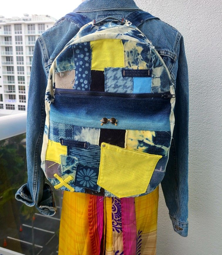 Denim and corduroy backpack with patches boho one of a kind bag tie dye jean custom