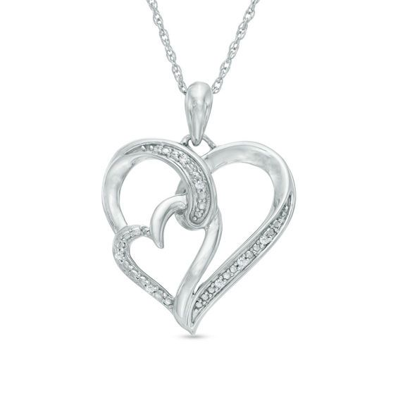 d93137ed0 Diamond Accent Double Heart Pendant in Sterling Silver in 2019 ...
