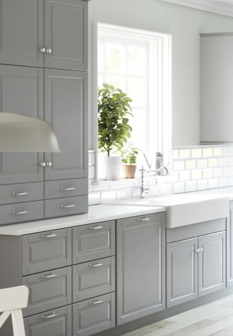 Pale Grey Two Tone Ikea New Kitchen Cabinets Kitchen Cabinet Design Grey Kitchen Cabinets