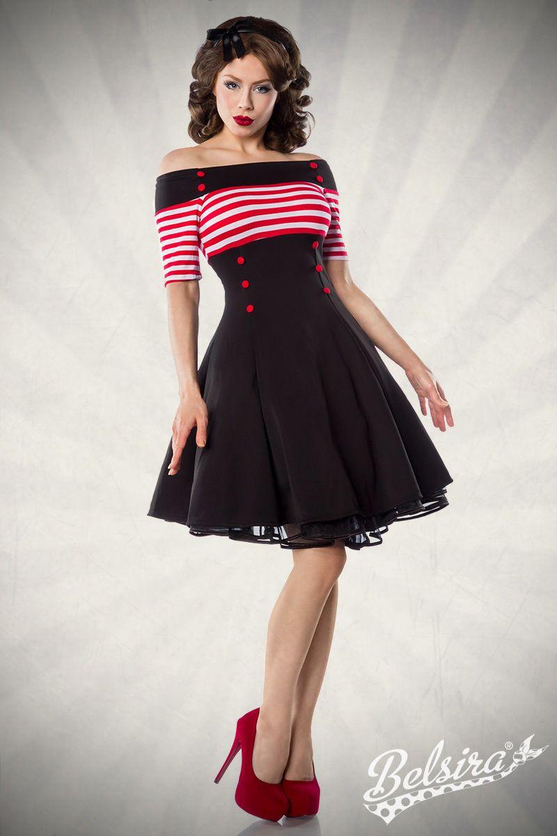 Schulterfreies Vintage-Kleid mit gestreiftem Oberteil von Belsira ...
