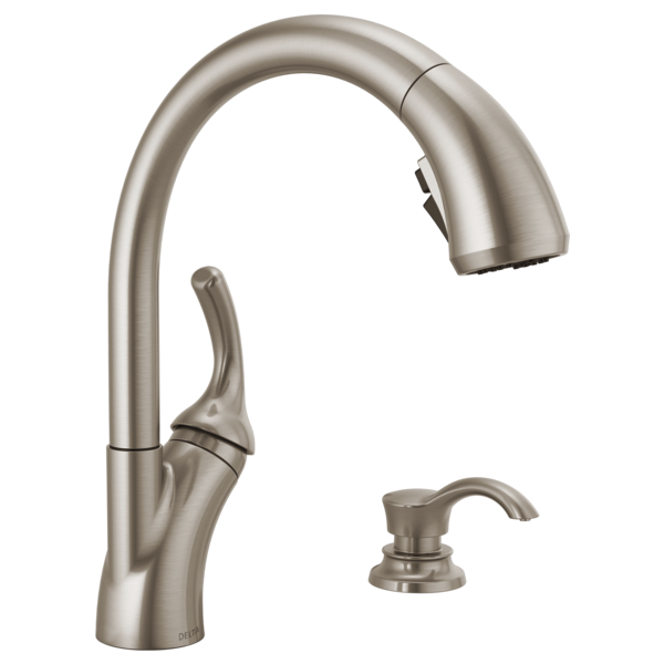 Single Handle Pull Out Kitchen Faucet With Soap Dispenser And