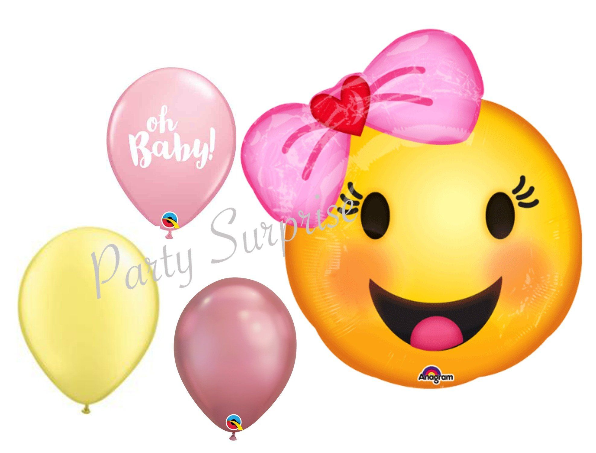 Balloon  Baby Girl Head Mylar pink Foil Party Decoration Gifts