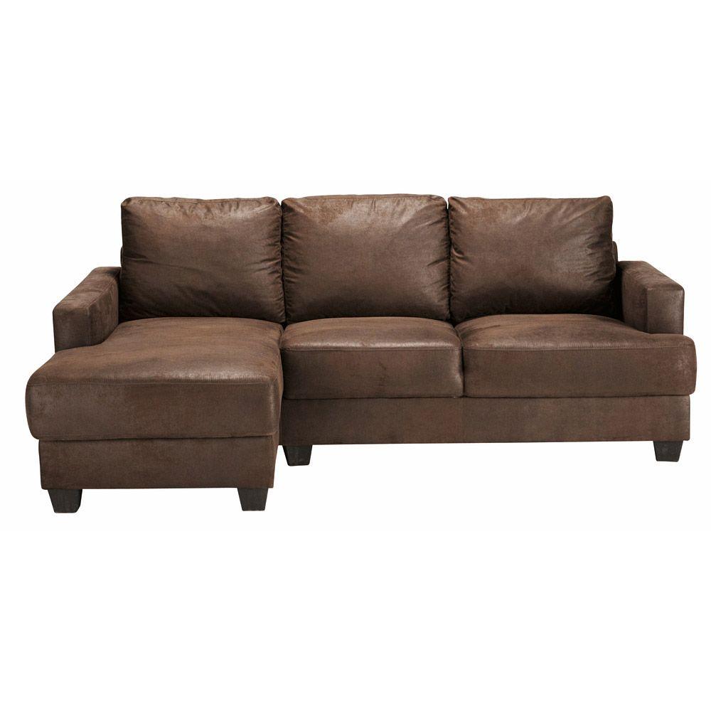 Best 3 4 Seater Imitation Suede Lhf Corner Sofa In Brown 400 x 300