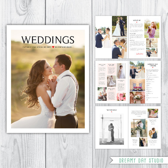 Wedding photography magazine template, wedding pricing template ...