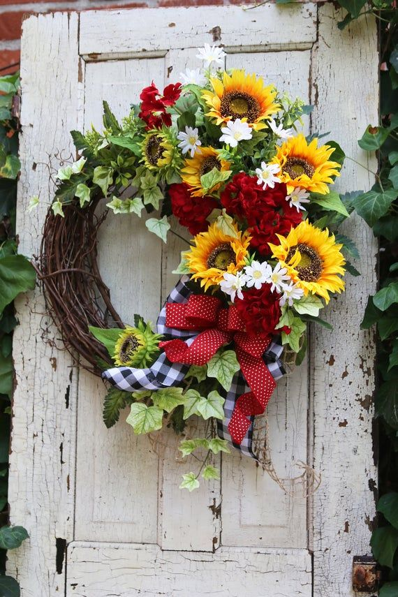 Photo of Sunflower wreath for front door, peasant wreath with sunflowers, farmhouse decor, rustic country, double door wreath, year-round wreath