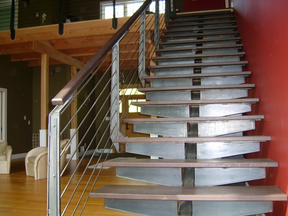 Wrought Iron Staircase And Contemporary Horizontal Iron Railing
