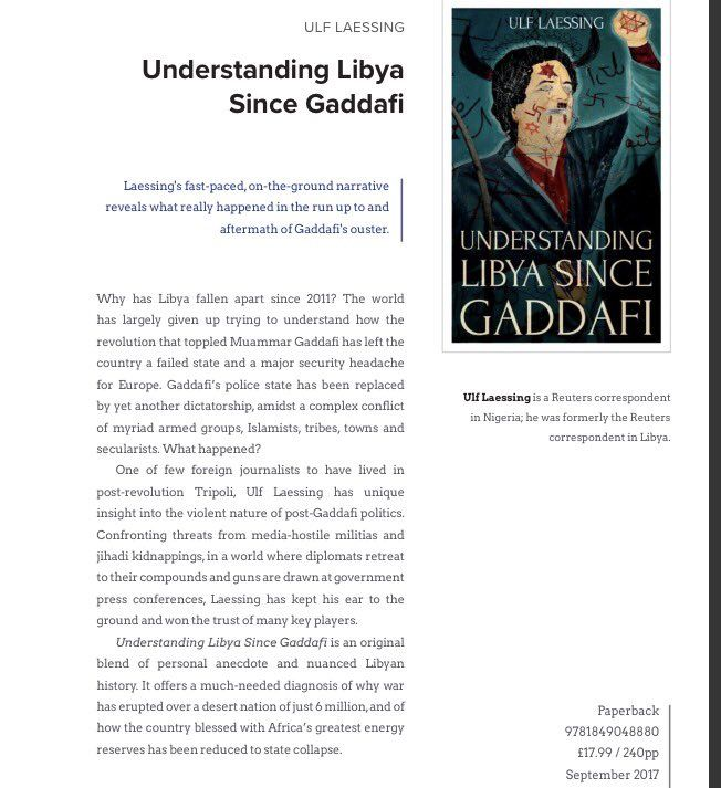 """Mary Fitzgerald on Twitter: """"Great to see @UlfLaessing's forthcoming #Libya book in new @HurstPublishers catalogue. One of handful of journos to cover 2011 + aftermath https://t.co/jHXdosWO0B"""""""