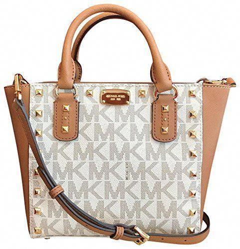 6f479abf6977 Michael Kors Sandrine Stud Signature Small Crossbody Handbag in Vanilla/ Acorn #Designerhandbags