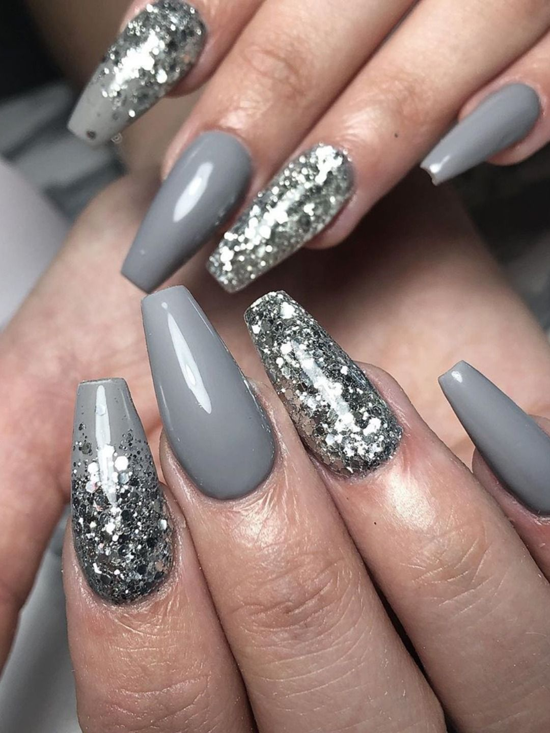 The Best Gray Nail Art Design Ideas Stylish Belles Red Ombre Nails Grey Nail Designs Pretty Acrylic Nails