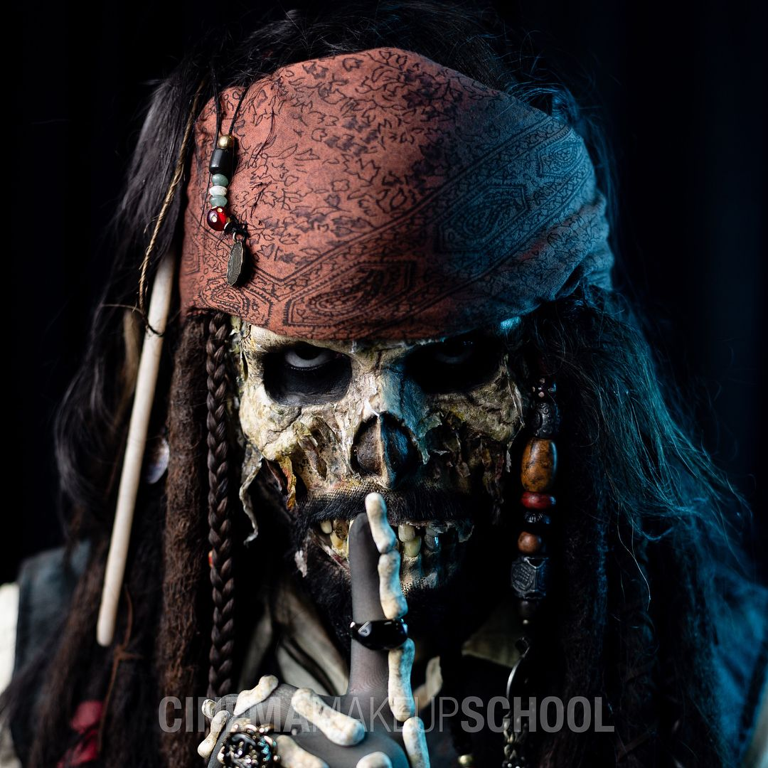 Jack sparrow undead Prosthetic makeup, Character makeup