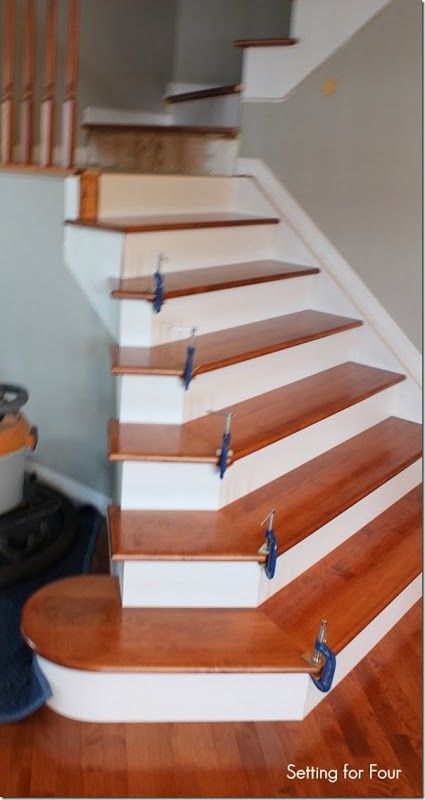 Removing Carpet And Stair Makeover Tips: Clamps Hold Hardwood Stairs Treads  In Place.