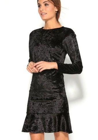 Volánové zamatové šaty s dlhými rukávmi #ModinoSK
