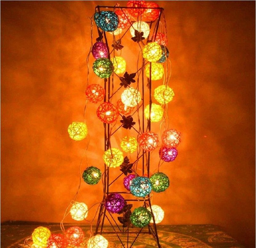 Decorative Light Balls Handcraft Set Of 20 Rattan Bulbs In Candy Colors Plugin