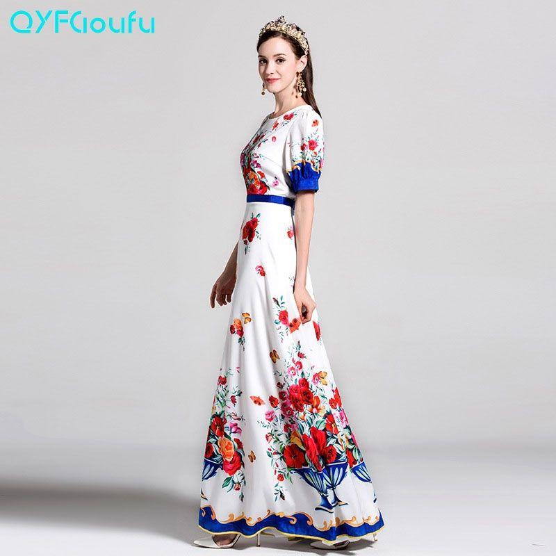 5aef2f8e725 Runway High Quality Women s Fashion Short Sleeve Maxi Dress 2017 Luxury  Floral Print Long Dresses Designer Classy Party Dresses