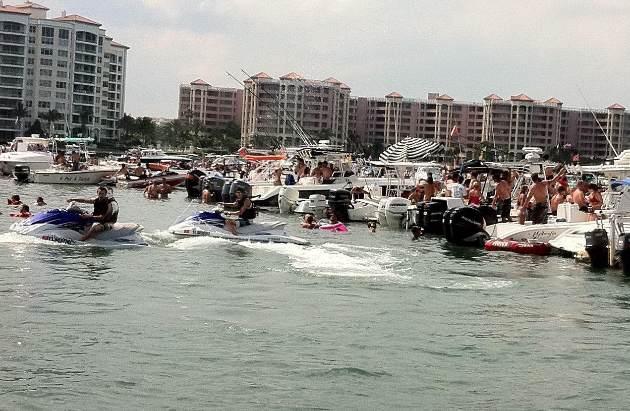 Boat party on lake boca with atlantic boat and jet ski