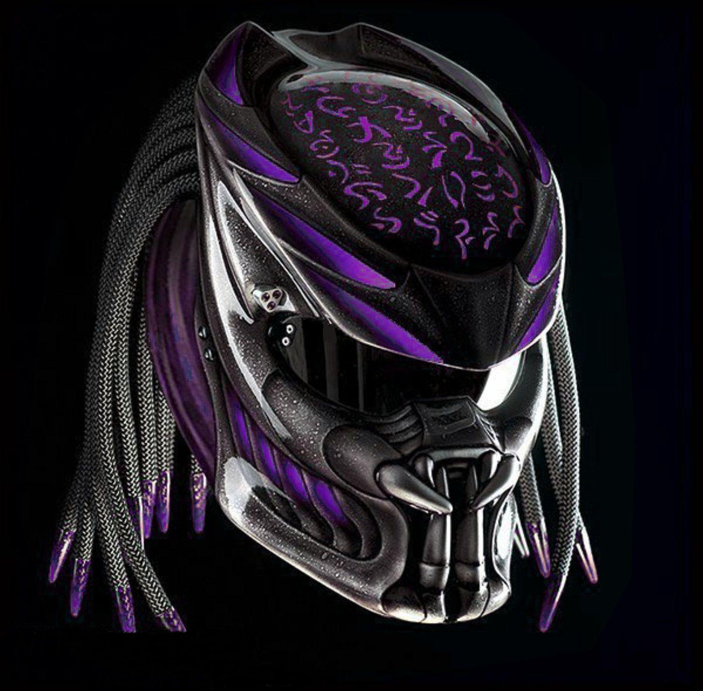 New Predator Helmet Motive Fire Purple Dot Ece Certified In 2021 Predator Helmet Motorcycle Helmets Helmet