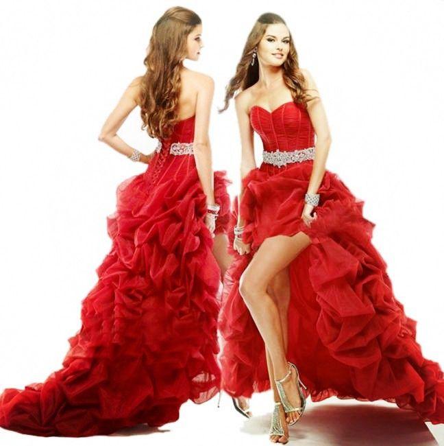 Damenmode Sexy trägerloses Vokuhila Kleid Organza Party Kleid ...