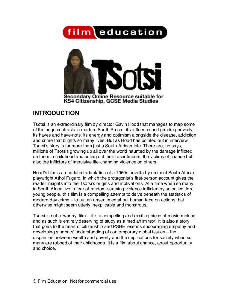 Tsotsi Film Education Resource   Film Studies   Study, Film studies ...