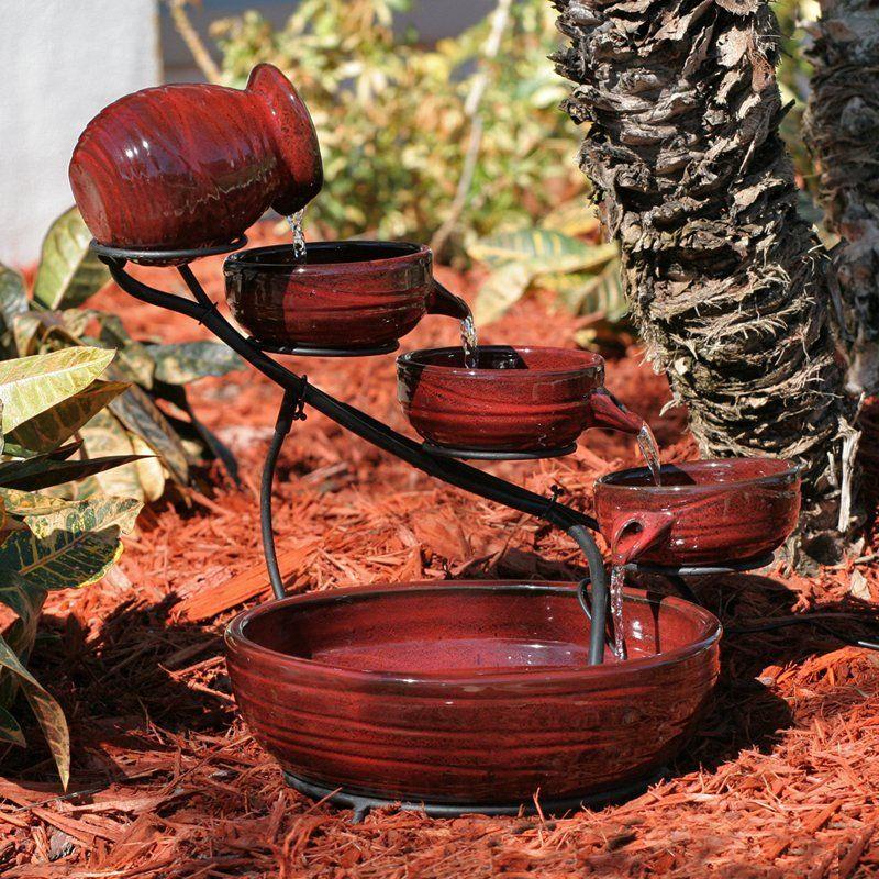 Smart Solar Red Lava Solar Ceramic Cascade Fountain |  Www.simplyfountains.com