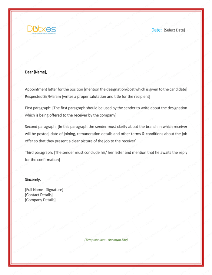 Appointment Letter Sample in Word Format Designing Pinterest