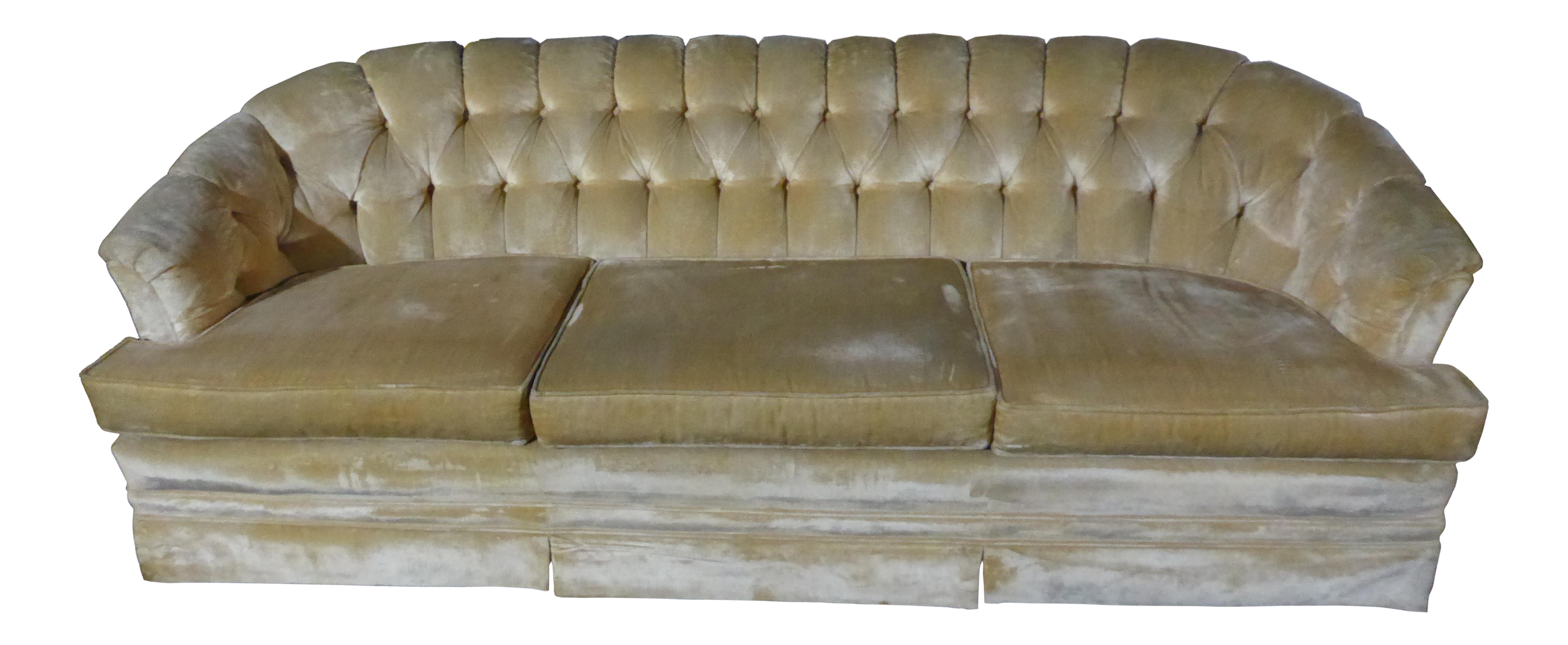 Mid Century Modern Off White Velvet Tufted Sofa Couch By Sears On Chairish