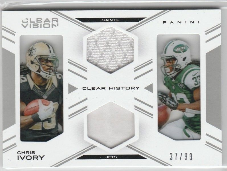 "2015 Panini ""CLEAR VISION ""Clear History"" Chris Ivory Football Card (TWO RELICS!!)  /99"