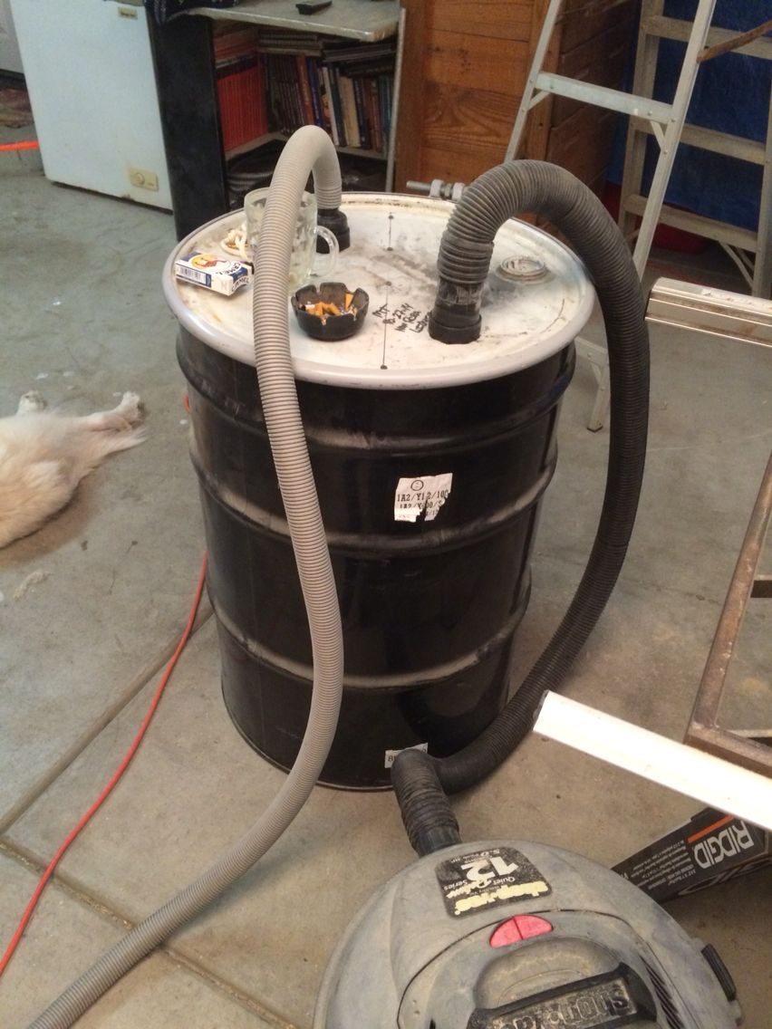 Sawdust collector from 55 gallon drum