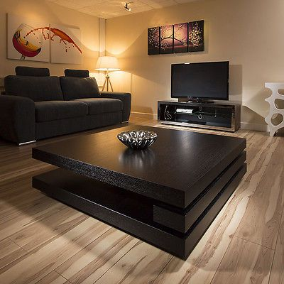 Extra Large Modern Square Black Oak 1 2mt Coffee Table Ag Studios