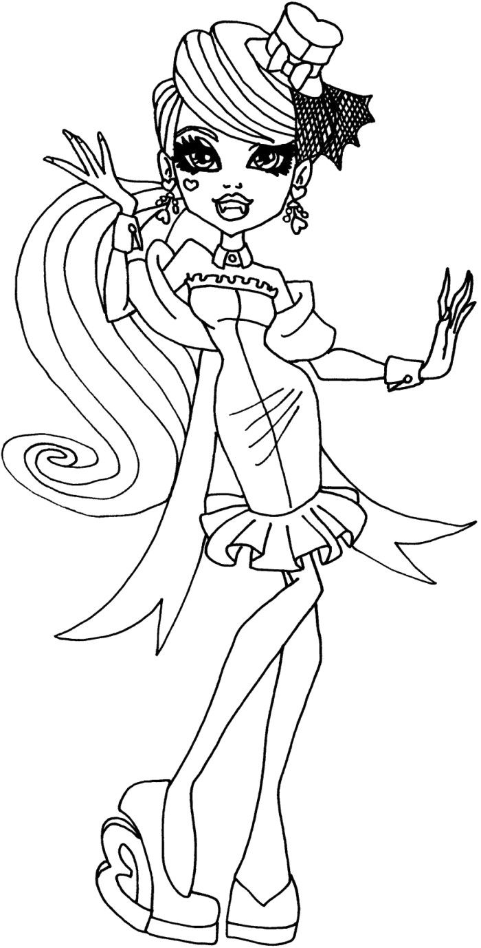 Draculaura is learning dancing coloring pages monster high