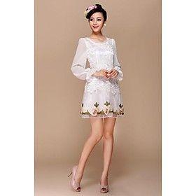 Women's Spring Chiffon Long Sleeve Jewel Sweet Dress