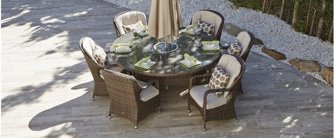 6 Seat Round Rattan Dining Set Eton Chair With Images