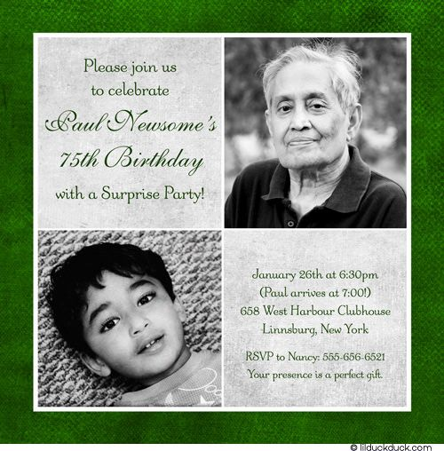 75th Birthday Invitation Green Gray Party Two Photos – 75th Birthday Invitation Cards