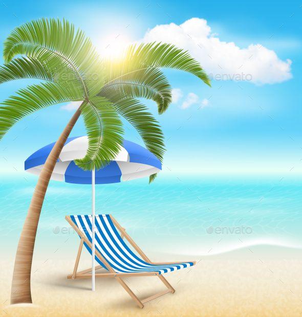Beach With Palm Cloud Sun Umbrella And Chair