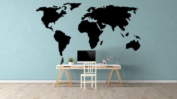 World Map Decal Small Large World Map Wall Decals Map Decal