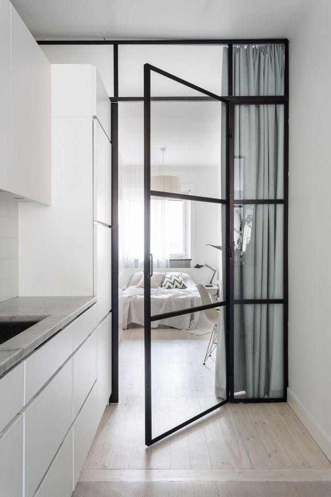 incredible hardwood floor bedroom   Glass Door Between Kitchen Bedroom Light Hardwood Floor ...