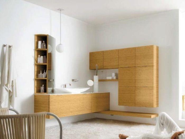 Badezimmerschrank Ideen Helle Holz Optik Stefano Spessotto Design