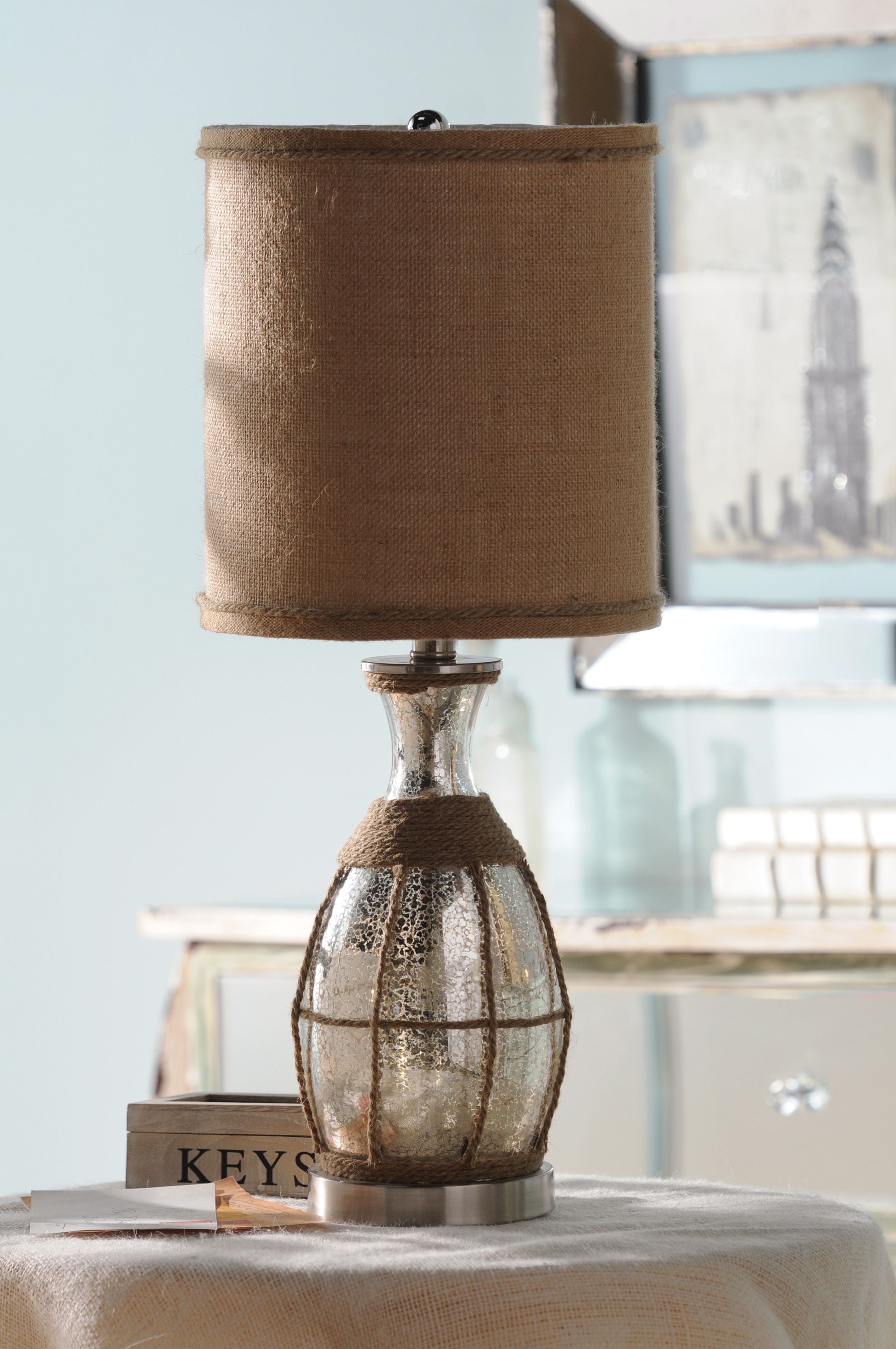glass rope table lamp kirklands eclecticelegance Spring is in