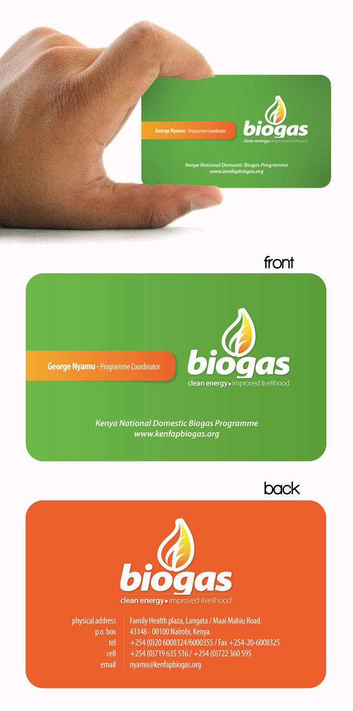 Double Sided Business Card Samples With Biogas Logo Front Side