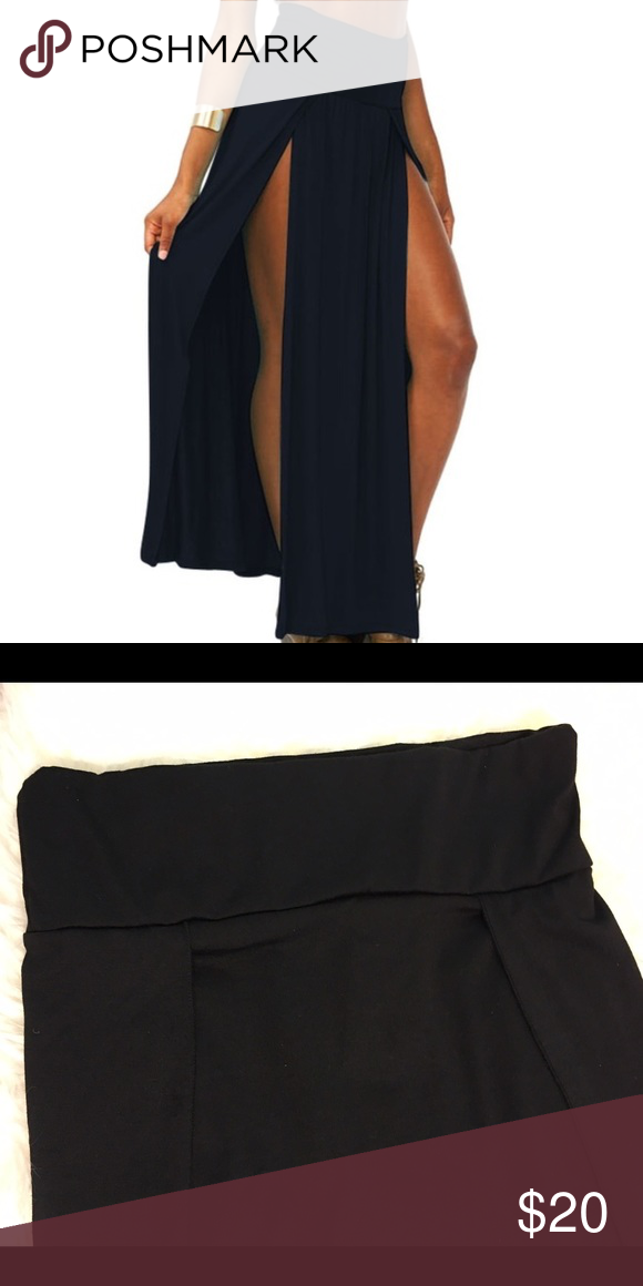 Double Split Maxi Skirt Flattering Black Double Split Skirt  •Cotton blend •Size: medium  •NWT  trade Skirts Maxi