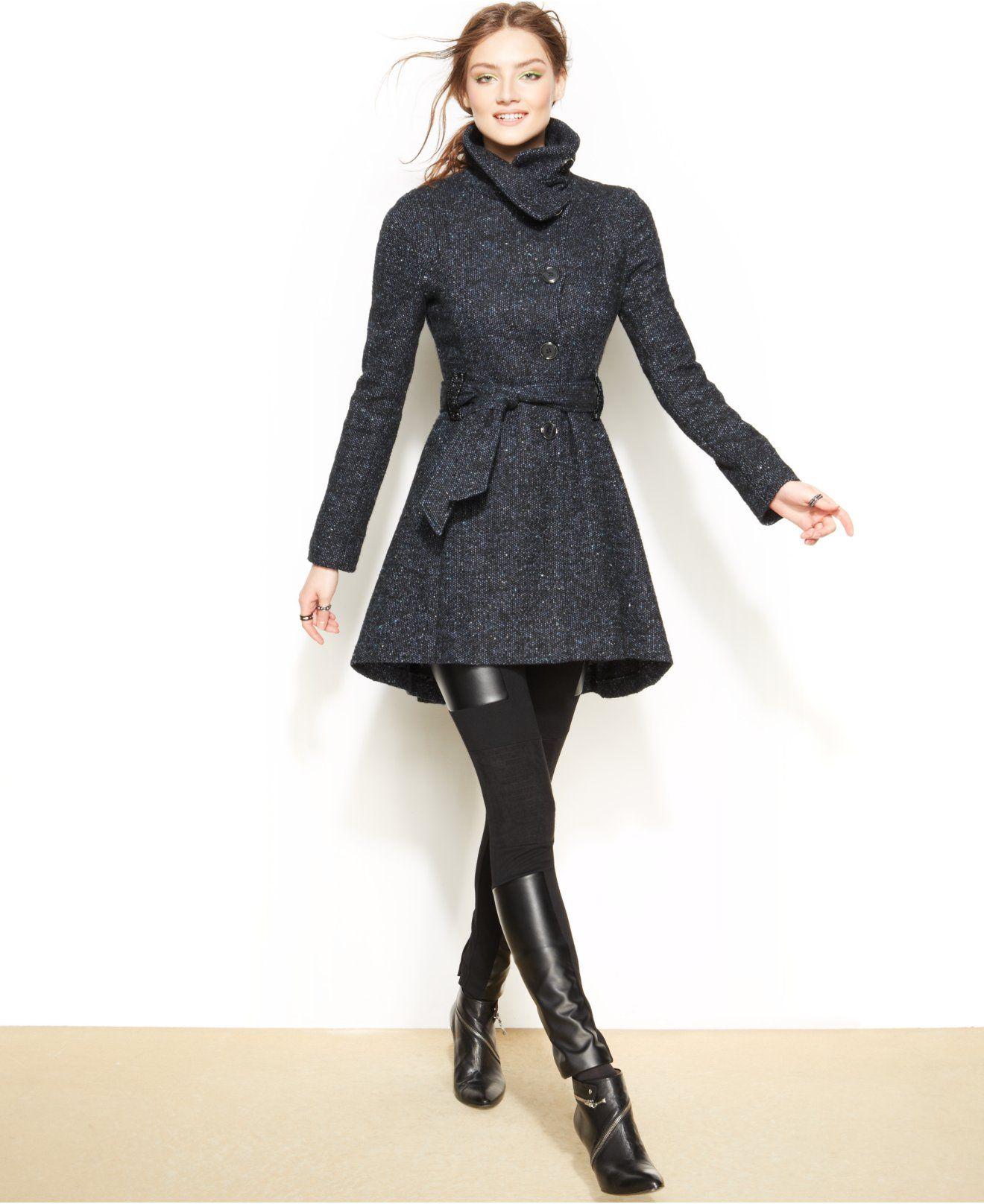 b171052b086 Steve Madden Drama Flared Funnel-Collar Coat - Coats - Women ...