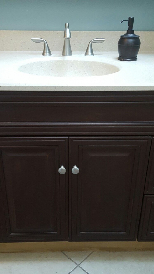 Dark Brown Chalk Paint Did Wonders For My Light Cabinets Regarding Bathroom Paint Color Id Painting Bathroom Cabinets Painted Vanity Bathroom Painting Bathroom