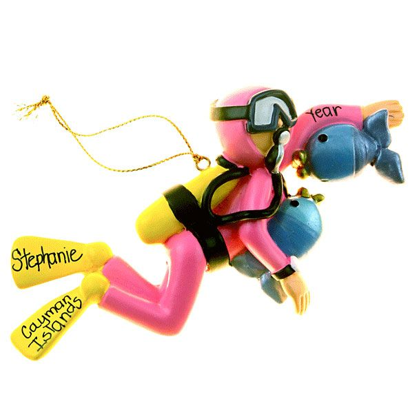 Female Scuba Diver Christmas Ornament Personalized (With ...