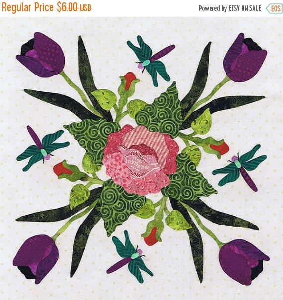 ON SALE Quilt Pattern Baltimore Spring Block 12 by MomTheQuilter
