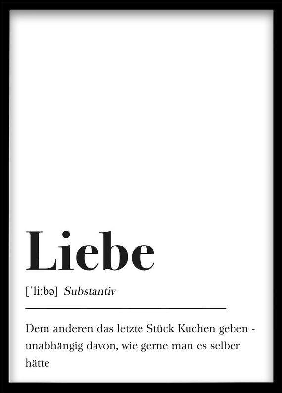 DIN A4 Poster Typografie Schwarz Weiß Plakat Liebe Schrift | Etsy