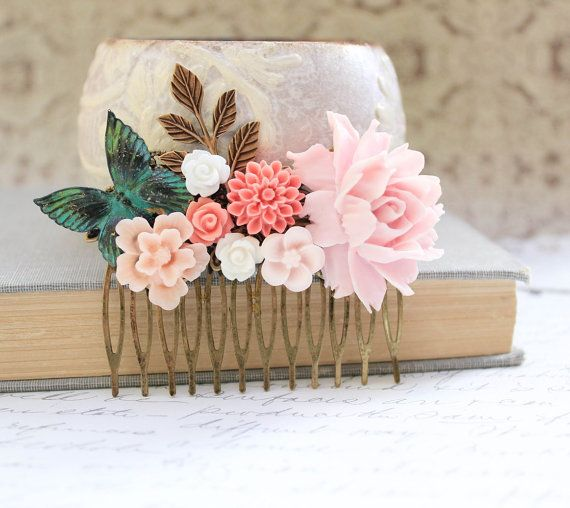Pink Rose Comb Wedding Flower Collage Patina by apocketofposies, $38.00