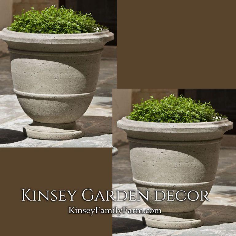 Kinsey Garden Decor Planters Relais Urn Large Set Cast Stone Outdoor Concrete Cement Arrangement Ideas Front Door Stone Planters Garden Urns Garden Plant Pots